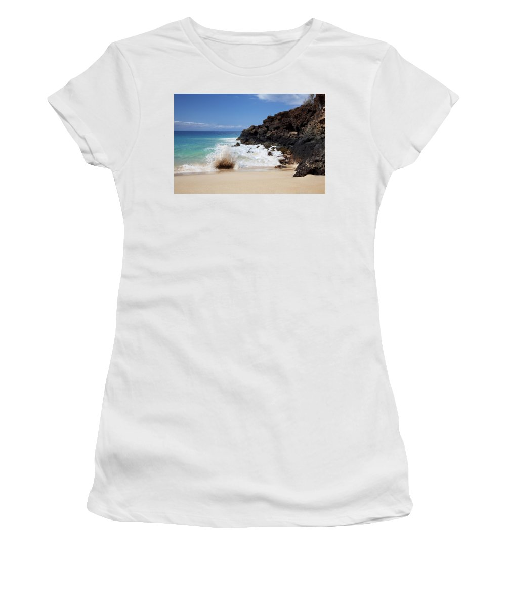 Beach Women's T-Shirt (Athletic Fit) featuring the photograph Makena Wave by Jenna Szerlag