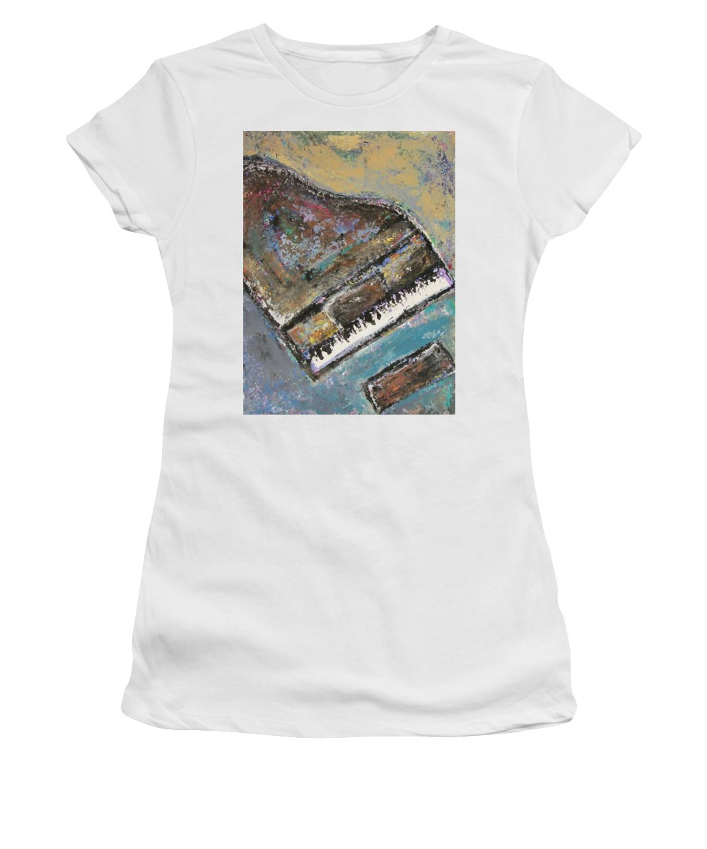Piano Women's T-Shirt (Athletic Fit) featuring the painting Piano Study 8 by Anita Burgermeister