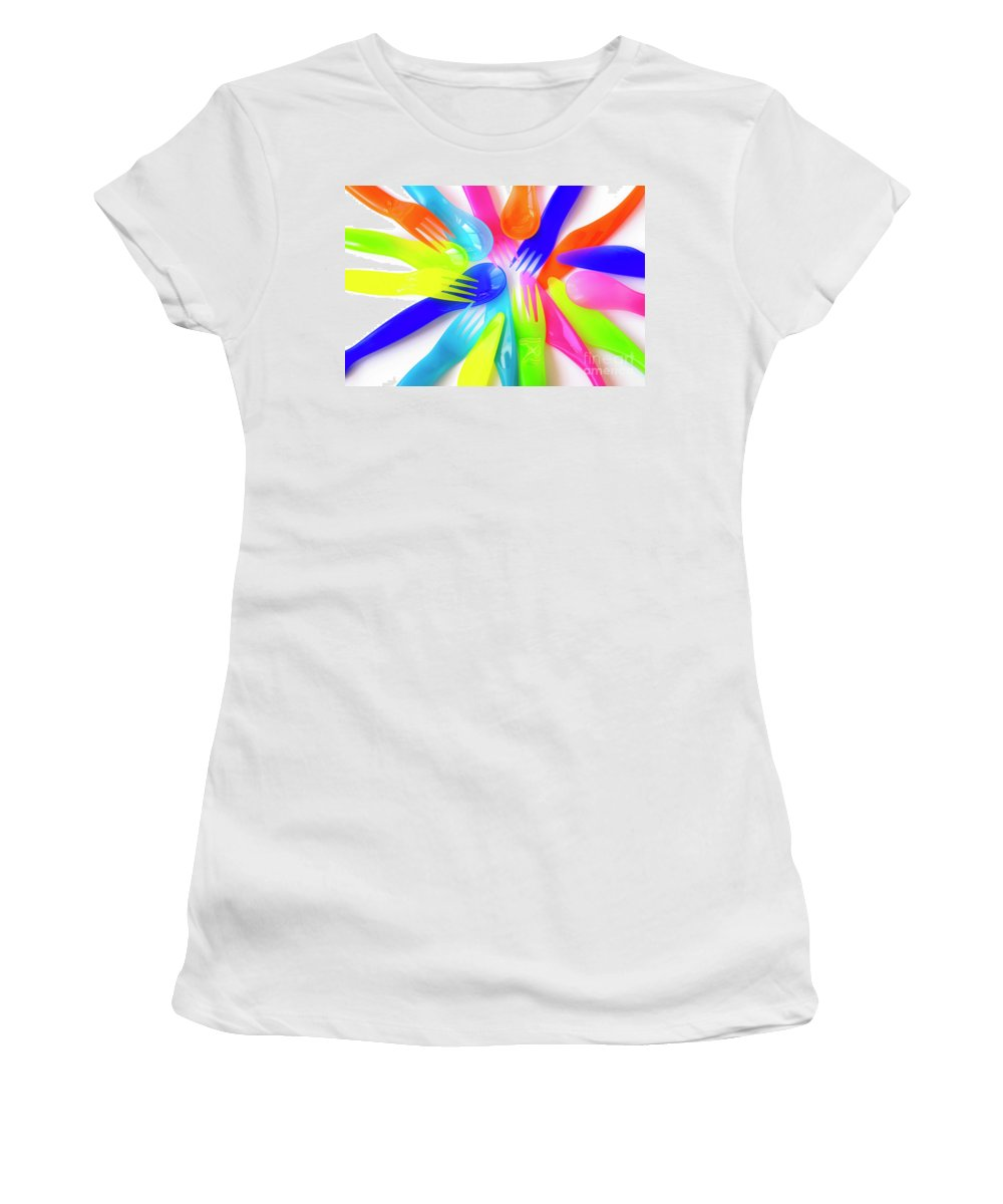 Baby Women's T-Shirt (Athletic Fit) featuring the photograph Plastic Cutlery by Carlos Caetano