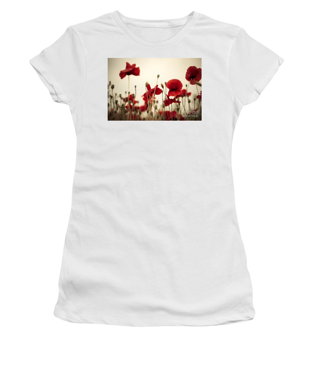 Poppy Women's T-Shirt (Athletic Fit) featuring the photograph Poppy Flowers 03 by Nailia Schwarz