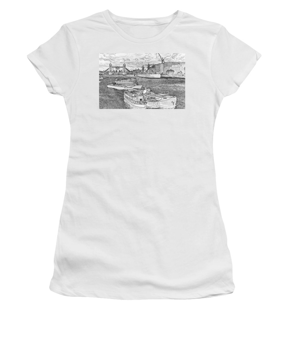 Olympics Women's T-Shirt featuring the digital art River Thames Art by David Pyatt