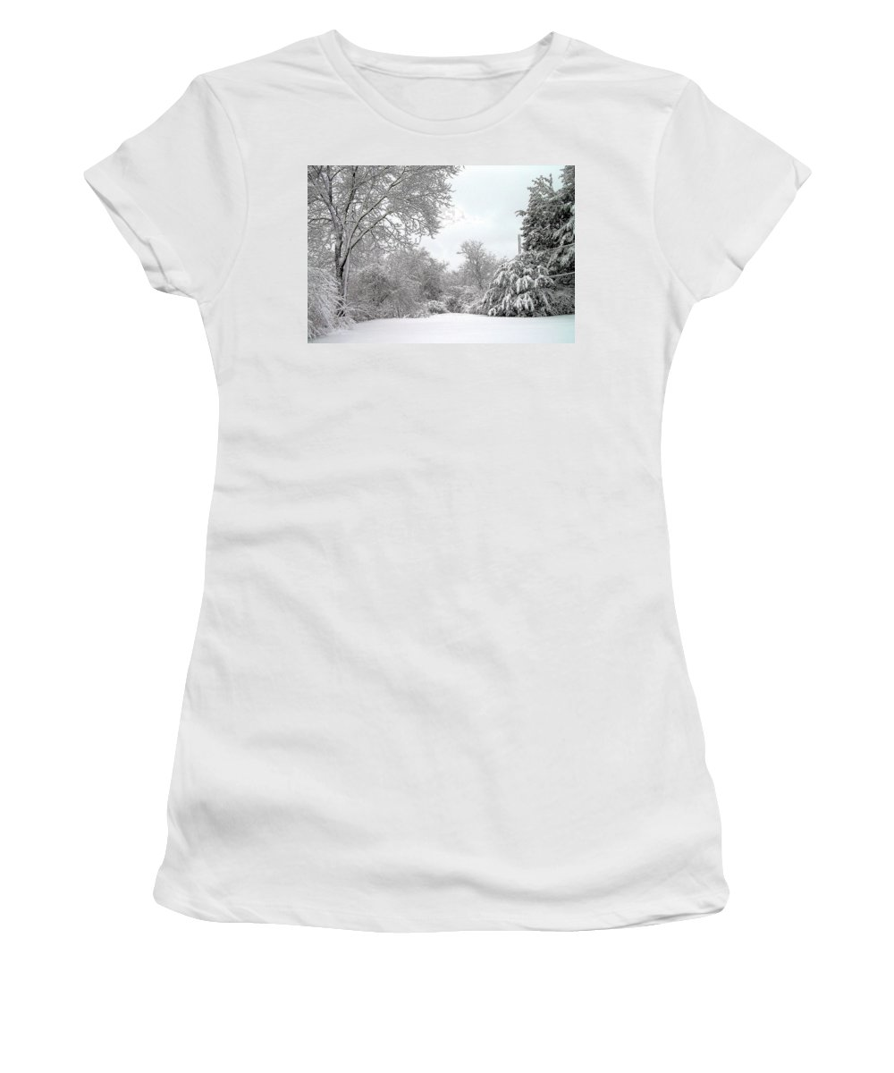 Snow Women's T-Shirt featuring the photograph Still by Jeff Heimlich