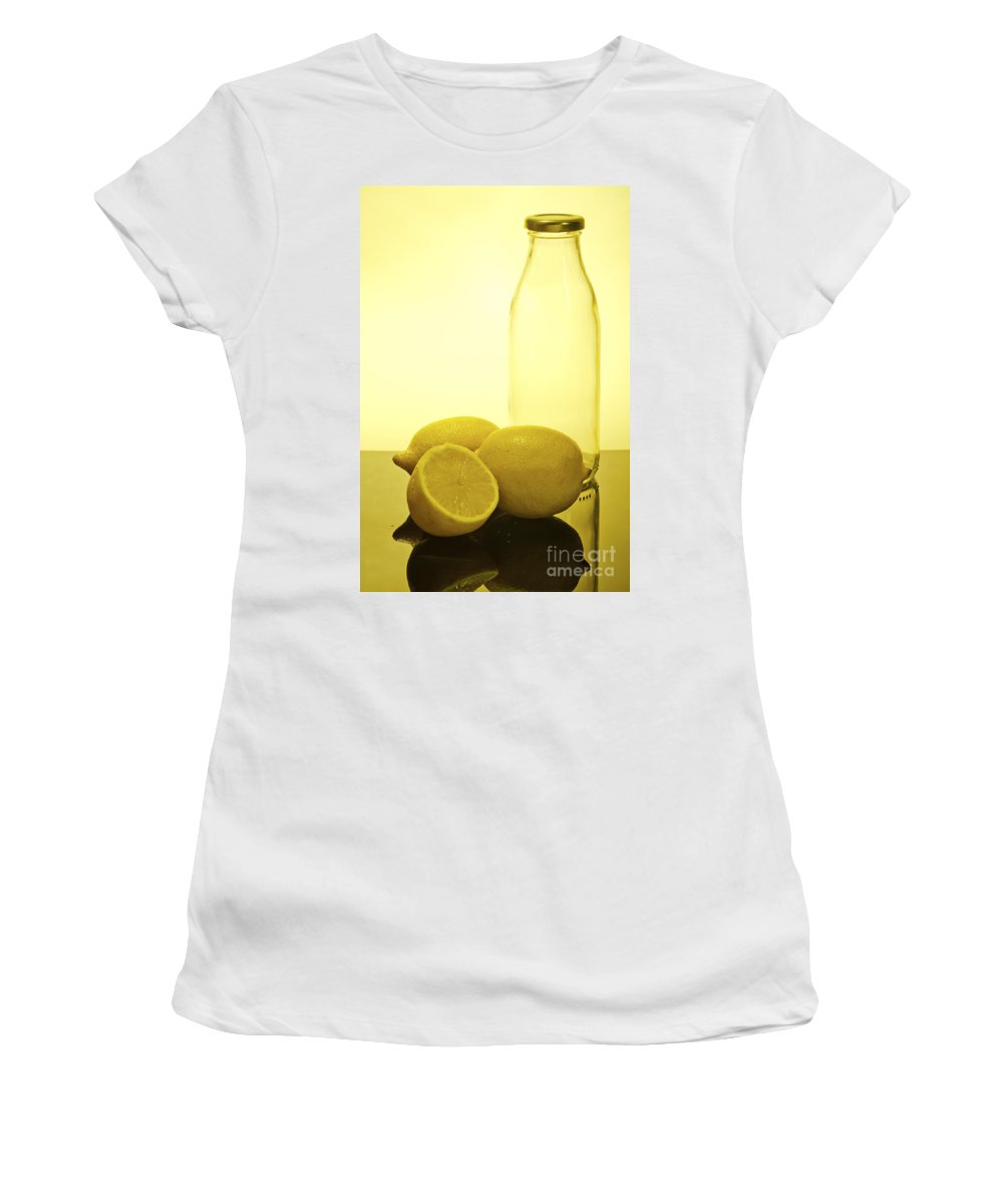 Assortment Women's T-Shirt featuring the photograph Still Life Of Bottles And Lemons by Ilan Amihai