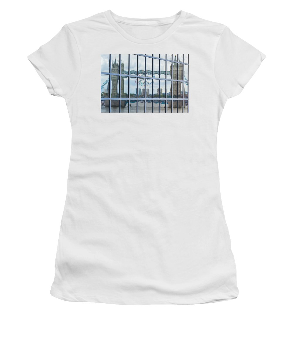Tower Bridge Women's T-Shirt (Athletic Fit) featuring the photograph Tower Bridge Reflection by David Pyatt