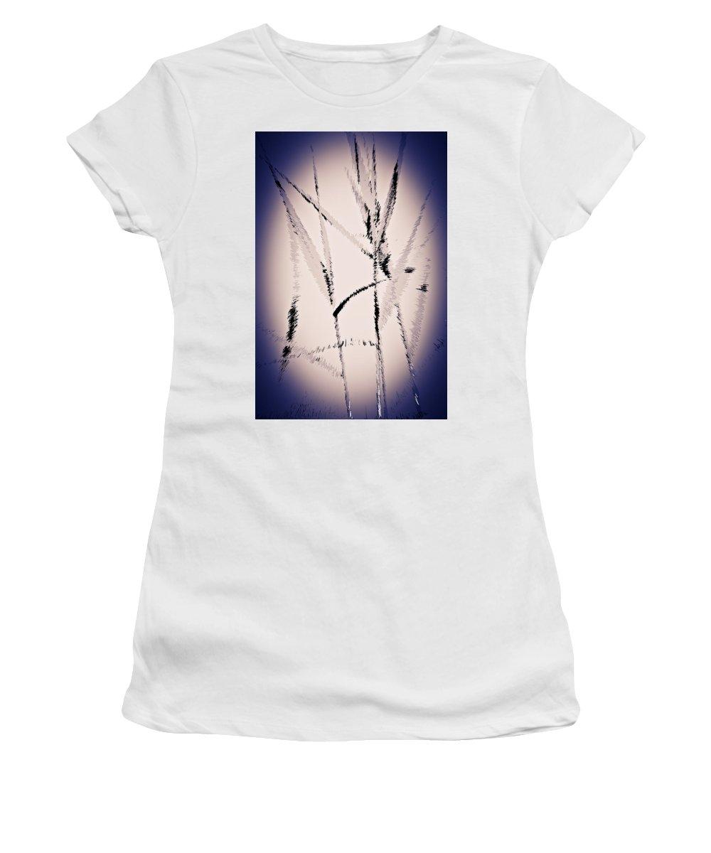 Art Women's T-Shirt (Athletic Fit) featuring the digital art Water Reed Digital Art by David Pyatt