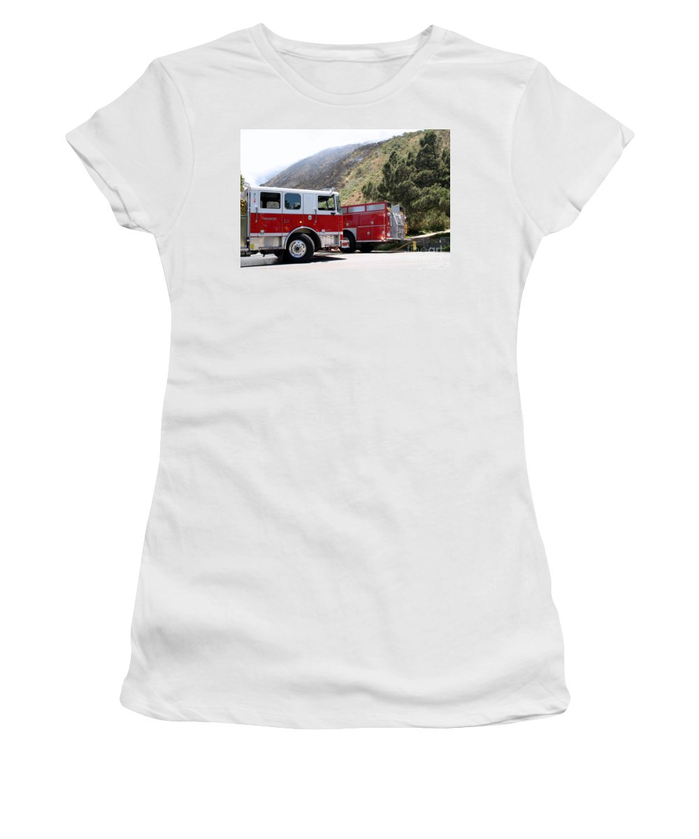 Ash Women's T-Shirt featuring the photograph Barnett Fire by Henrik Lehnerer
