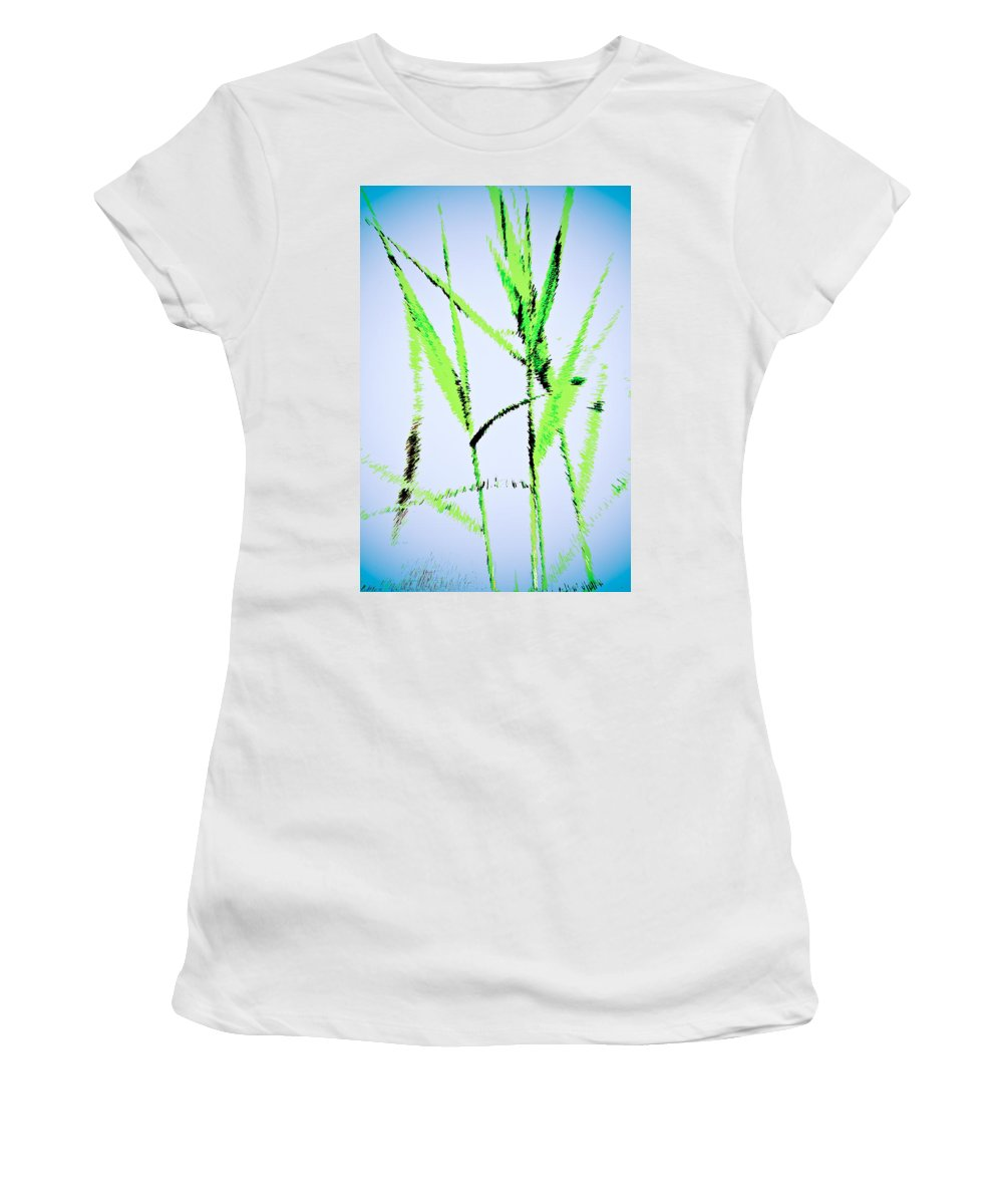 Monet Women's T-Shirt (Athletic Fit) featuring the digital art Water Reed Digital Art by David Pyatt