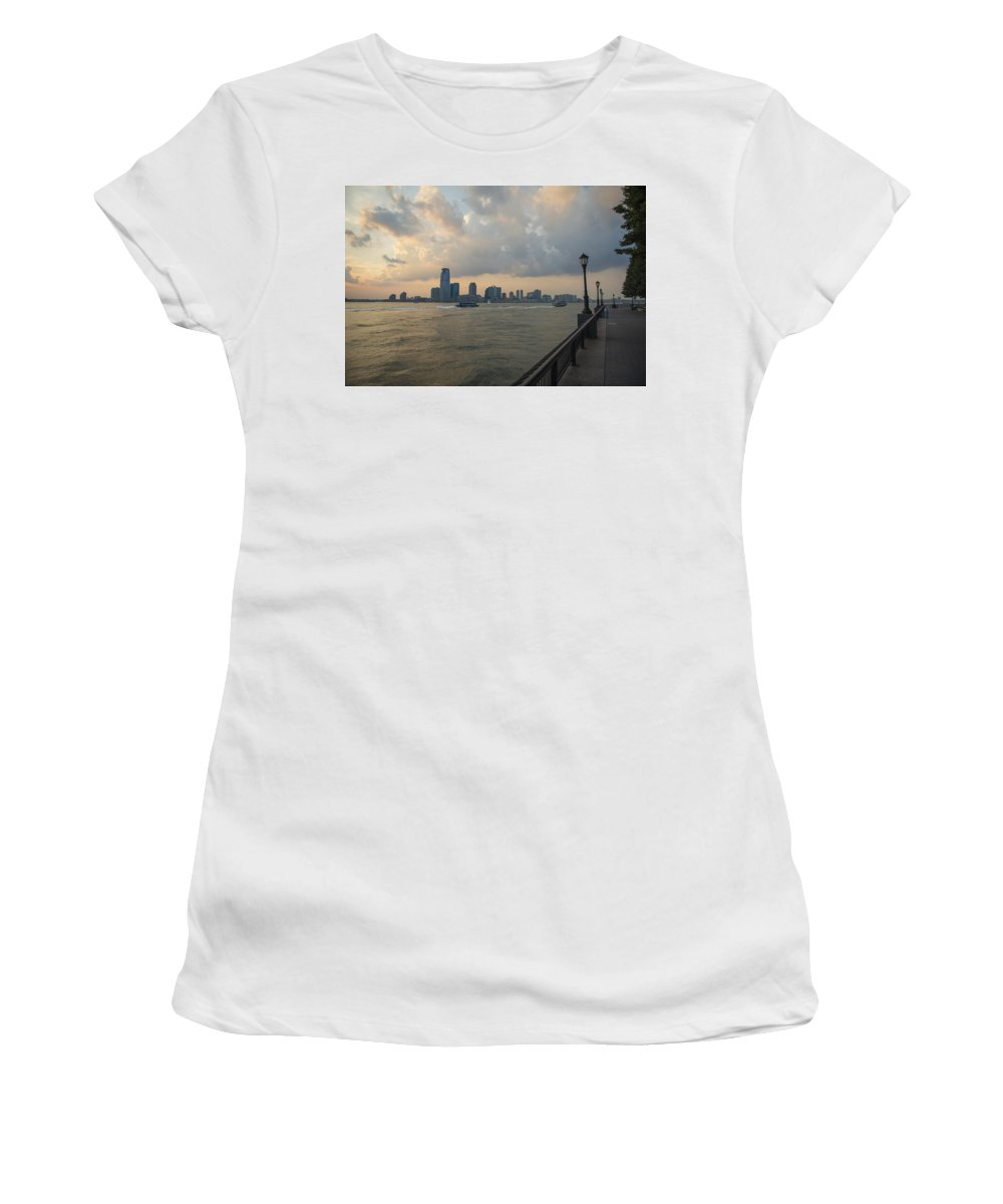 Battery Park City Women's T-Shirt (Athletic Fit) featuring the photograph View From Battery Park City by Theodore Jones