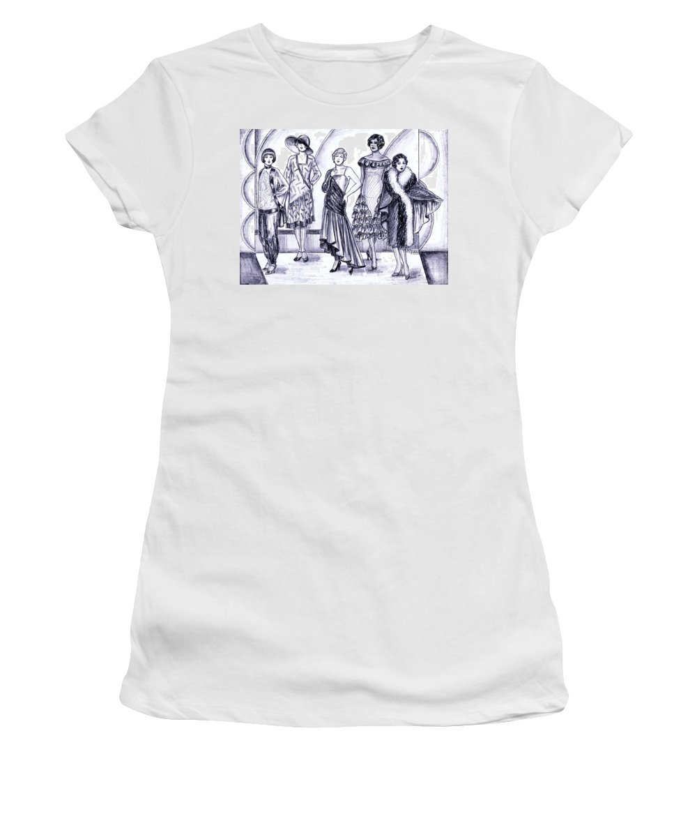 Nostalgia Women's T-Shirt (Athletic Fit) featuring the drawing 1920s British Fashions by Mel Thompson