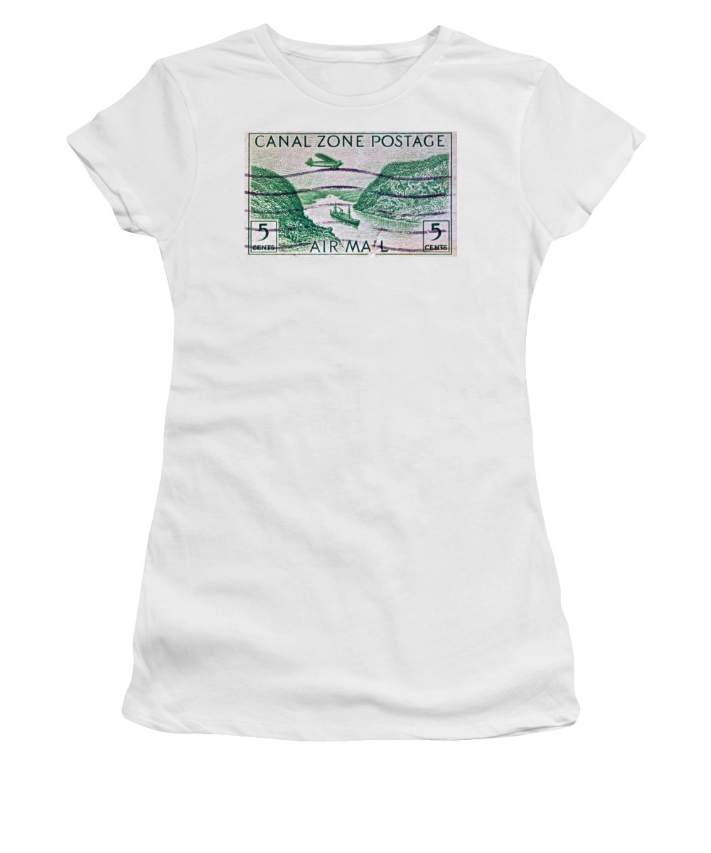 1931 Canal Zone Stamp Women's T-Shirt (Athletic Fit) featuring the photograph 1931 Canal Zone Stamp by Bill Owen