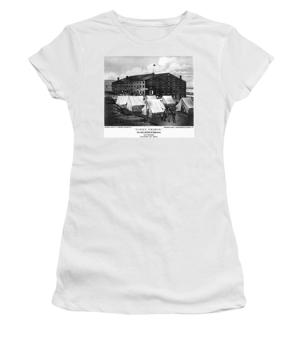1863 Women's T-Shirt featuring the photograph Civil War: Libby Prison by Granger