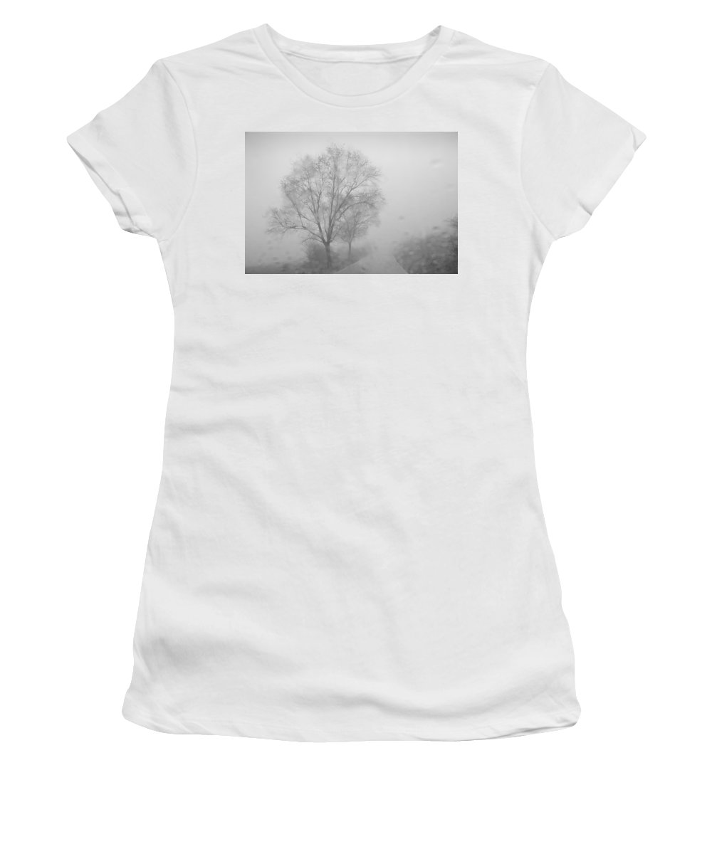 Black And White Women's T-Shirt (Athletic Fit) featuring the photograph Rainy Days by Guido Montanes Castillo