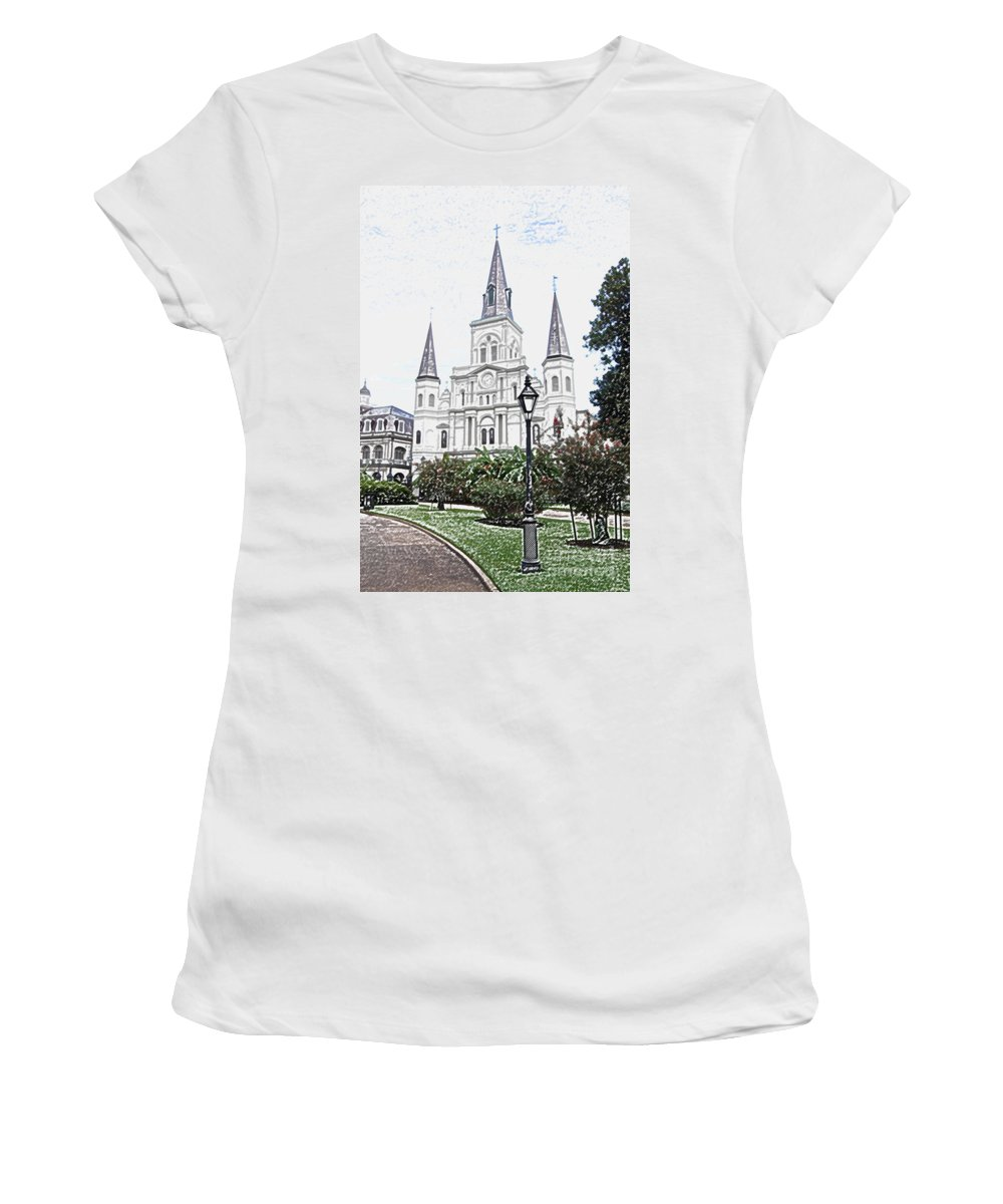Travelpixpro New Orleans Women's T-Shirt featuring the digital art St Louis Cathedral Jackson Square French Quarter New Orleans Colored Pencil Digital Art by Shawn O'Brien