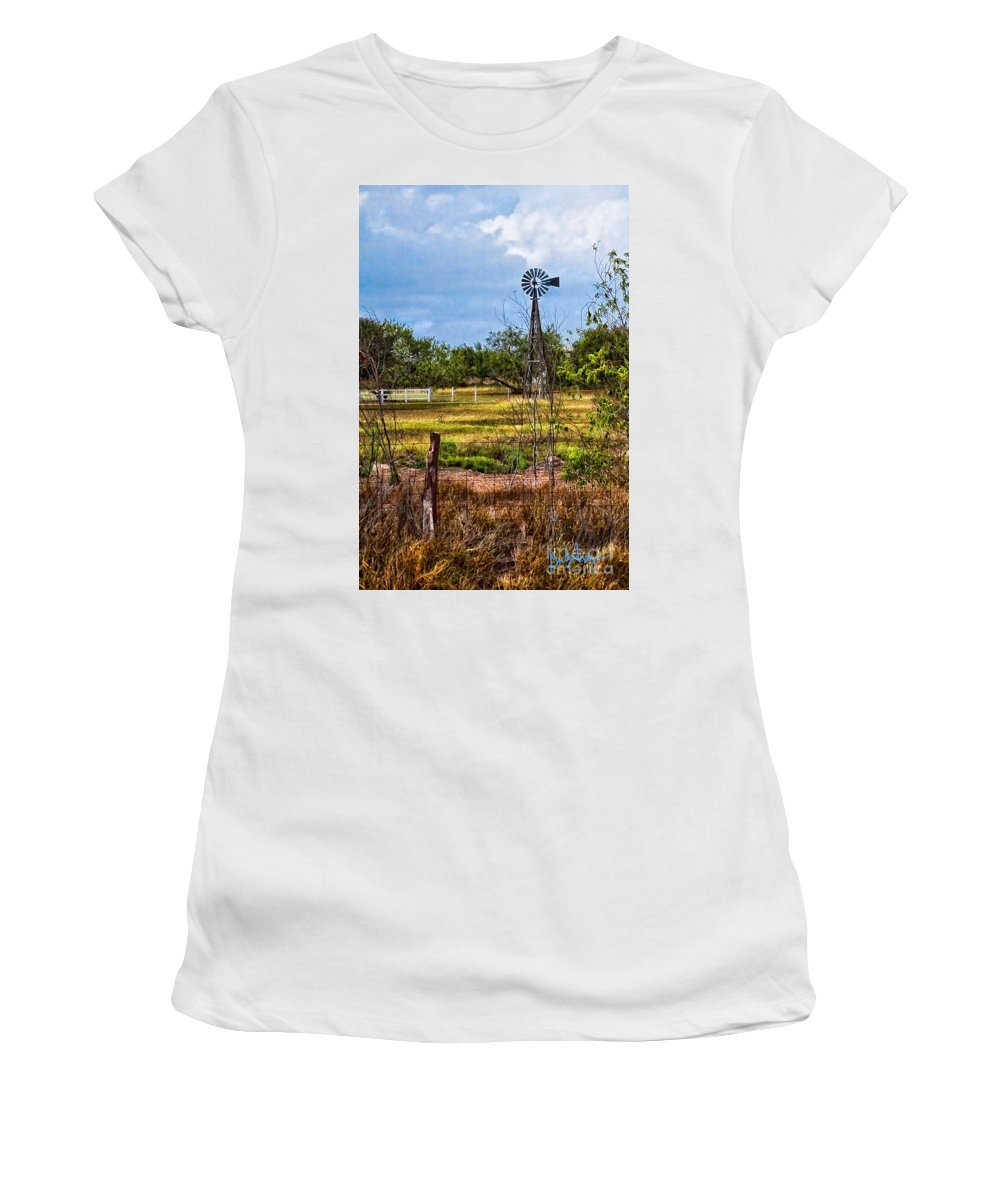 Dinah Anaya Women's T-Shirt (Athletic Fit) featuring the photograph 281 Family Farm by Dinah Anaya