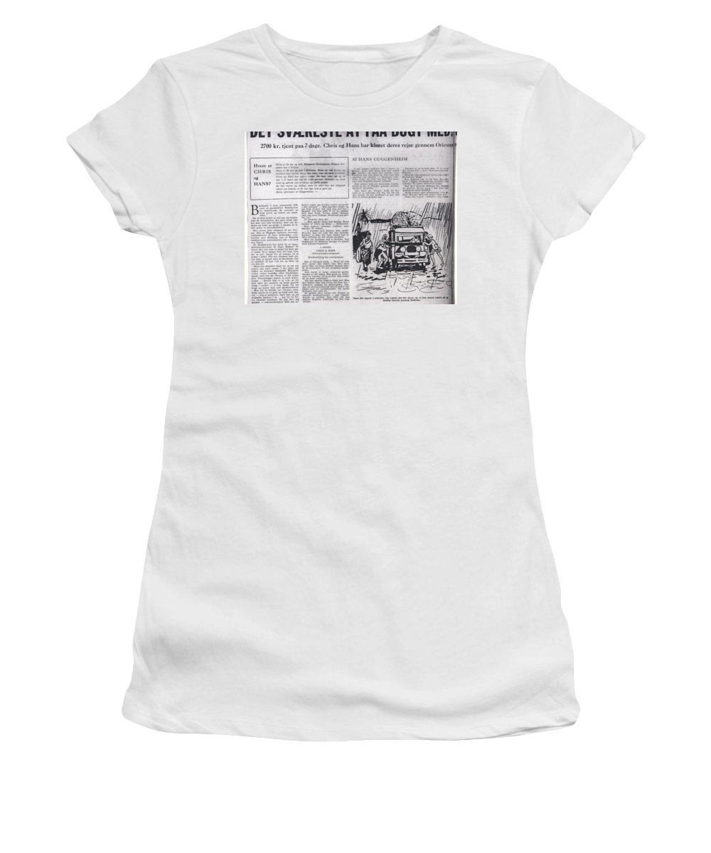 Colette Women's T-Shirt (Athletic Fit) featuring the mixed media Bits From Danish Article From The Fifties by Colette V Hera Guggenheim