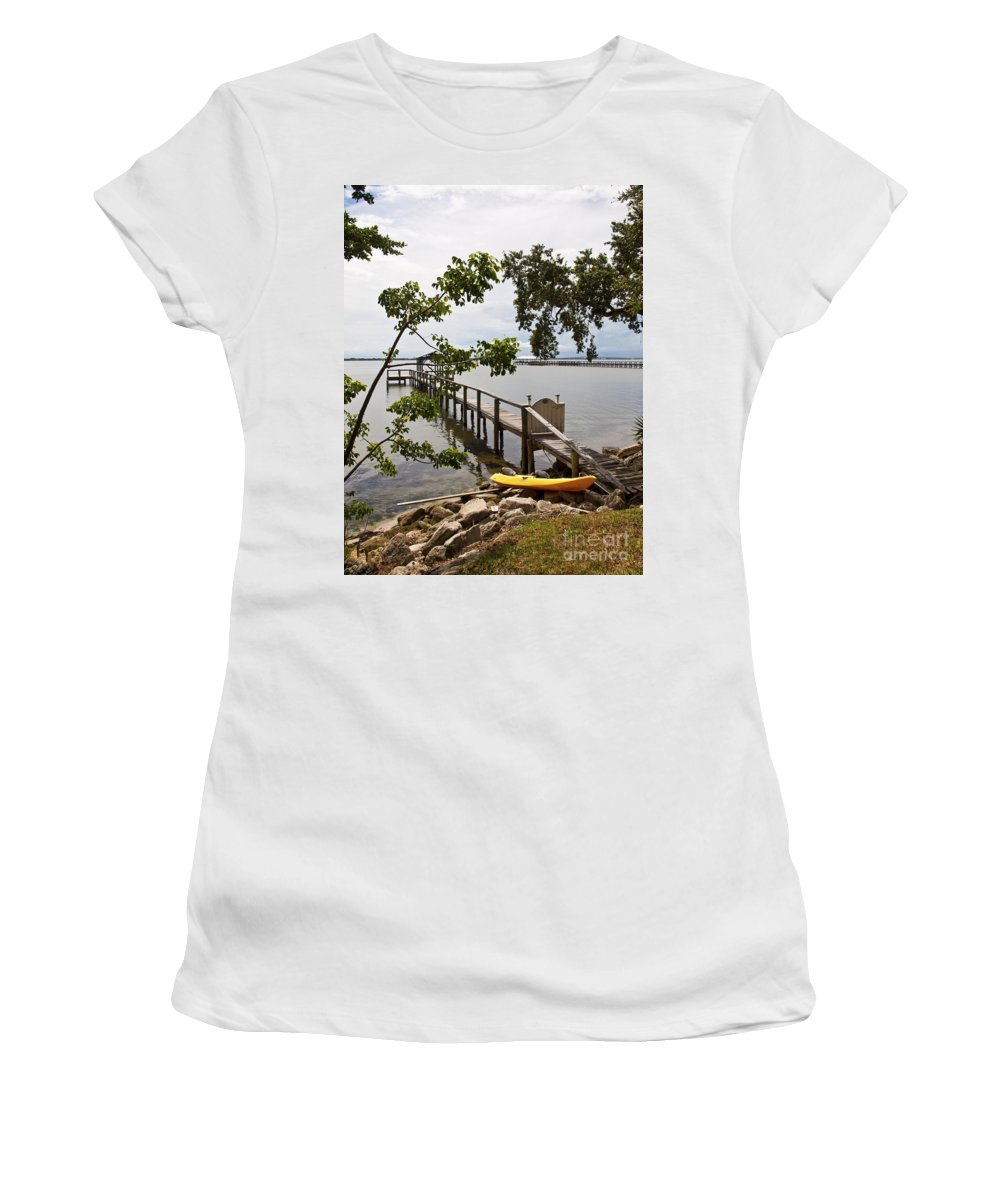 Kayak Women's T-Shirt (Athletic Fit) featuring the photograph River Walk On The Indian River Lagoon by Allan Hughes