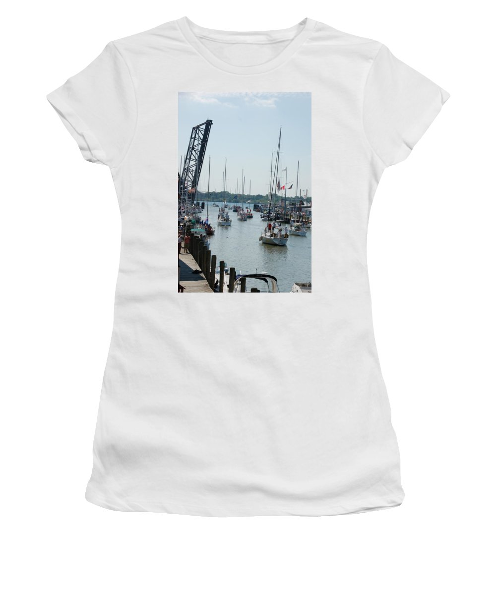 Sails Women's T-Shirt featuring the photograph Port Huron To Mackinac Island Race by Randy J Heath