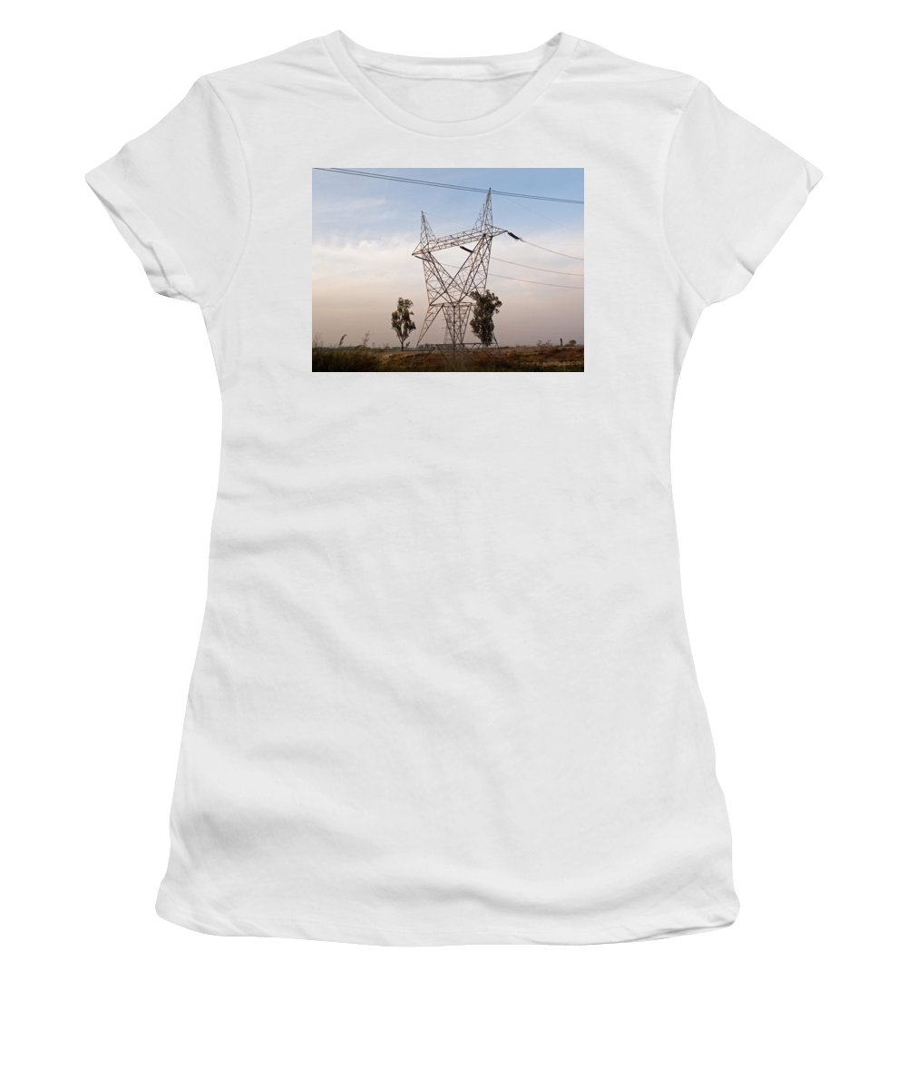 India Women's T-Shirt (Athletic Fit) featuring the photograph A Large Steel Based Electric Pylon Carrying High Tension Power Lines by Ashish Agarwal