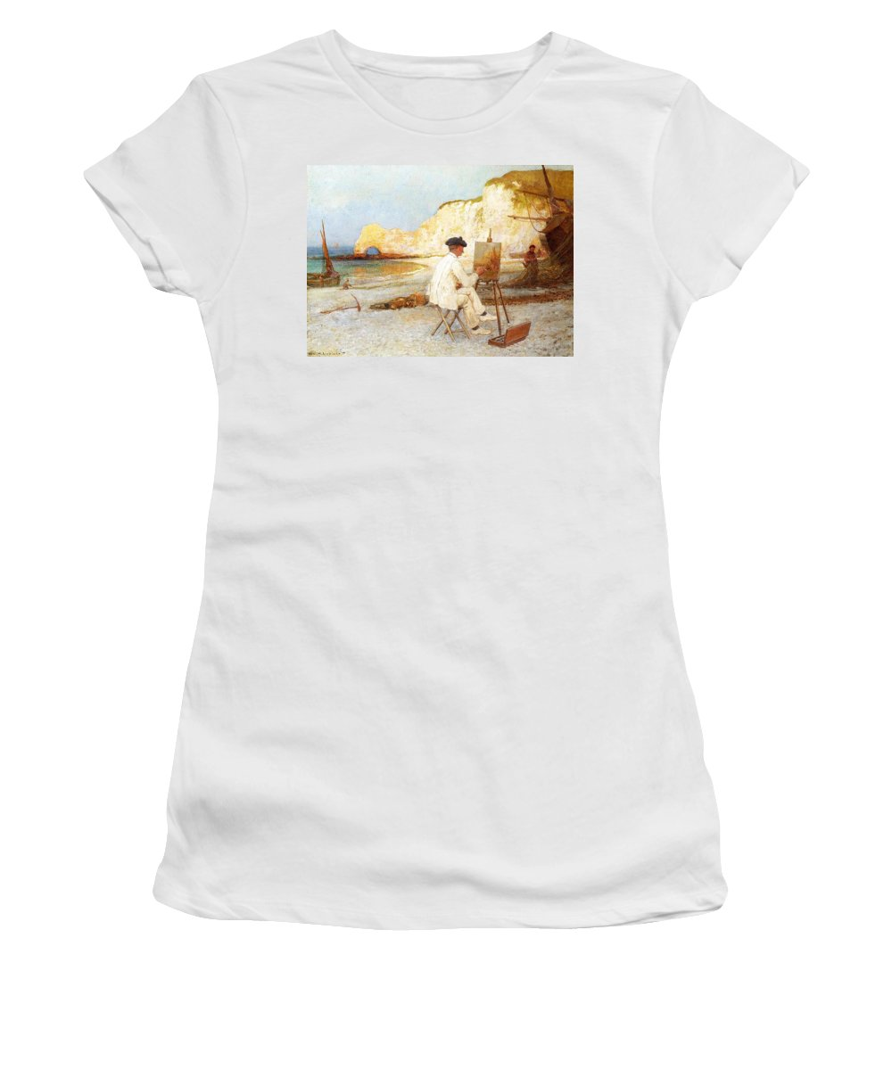A Painter By The Sea Side Women's T-Shirt (Athletic Fit) featuring the painting A Painter By The Sea Side by William Henry Lippincott