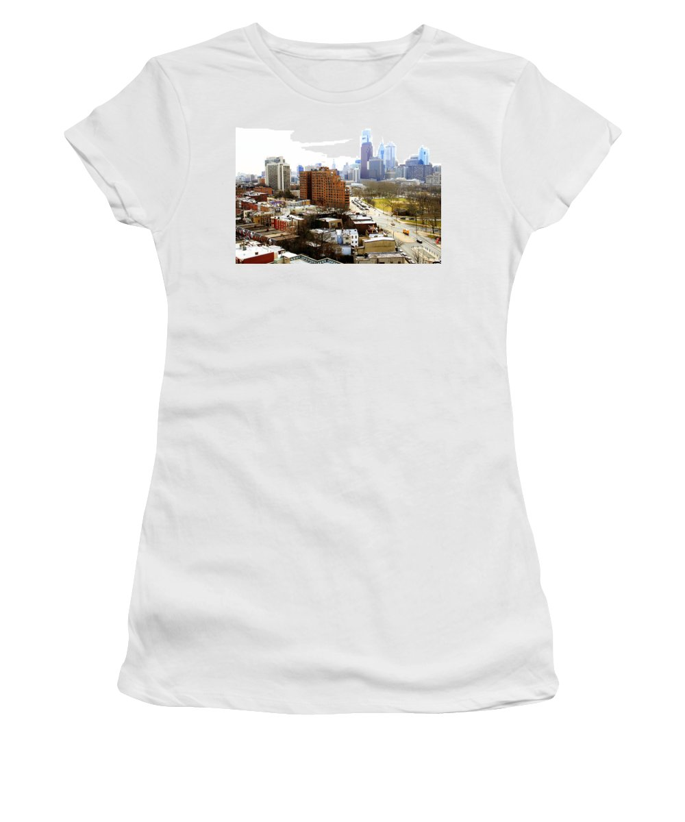 Philadelphian City View Fairmount Park Philadelphia Parkway Women's T-Shirt featuring the photograph A Philadelphian View Two by Alice Gipson