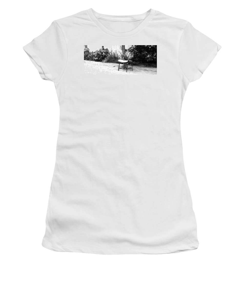 Monochromatic Women's T-Shirt featuring the photograph A Torn Chair by Sumit Mehndiratta