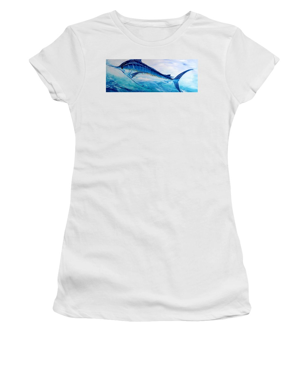 Fish Women's T-Shirt (Athletic Fit) featuring the painting Abstract Marlin by J Vincent Scarpace