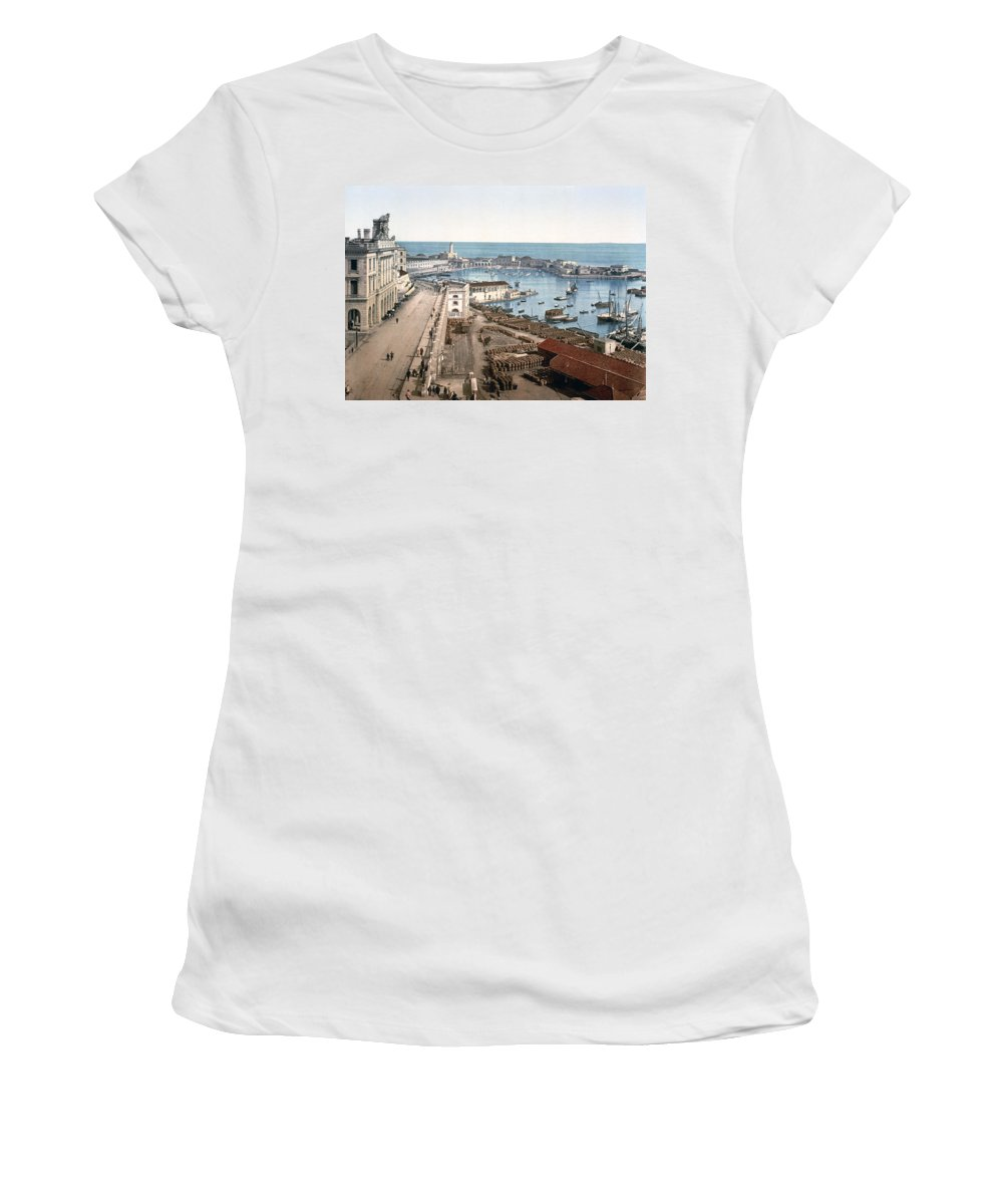 Algiers Women's T-Shirt featuring the photograph Algiers - Algeria - Harbor And Admiralty by International Images