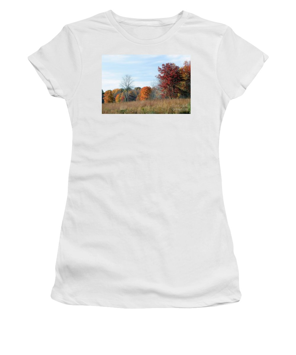 Autumn Women's T-Shirt (Athletic Fit) featuring the photograph Alone With Autumn by Living Color Photography Lorraine Lynch