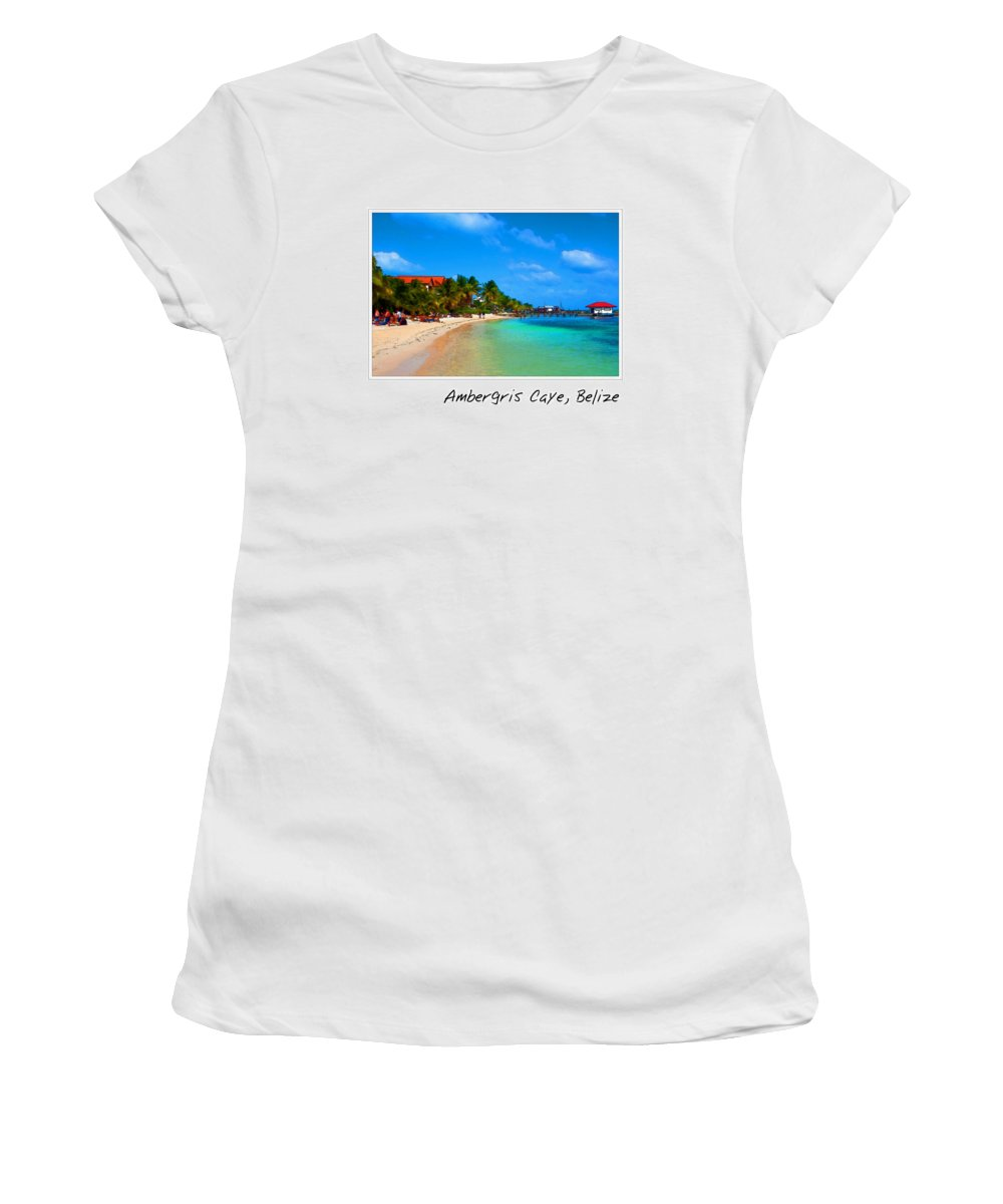 Ambergris Women's T-Shirt featuring the photograph Ambergris Caye Belize by Brandon Bourdages