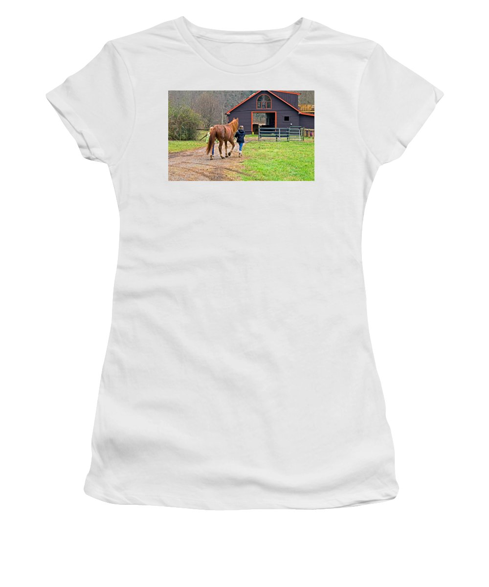Young Women's T-Shirt (Athletic Fit) featuring the photograph At Day's End by Susan Leggett