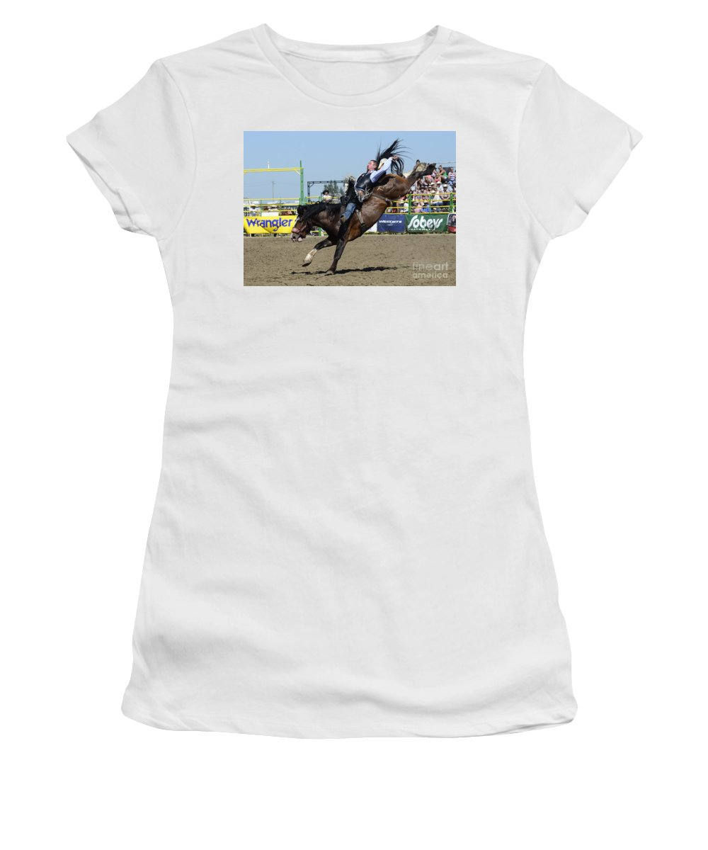 Rodeo Bareback Riding Women's T-Shirt (Athletic Fit) featuring the photograph Rodeo Bareback Riding by Bob Christopher