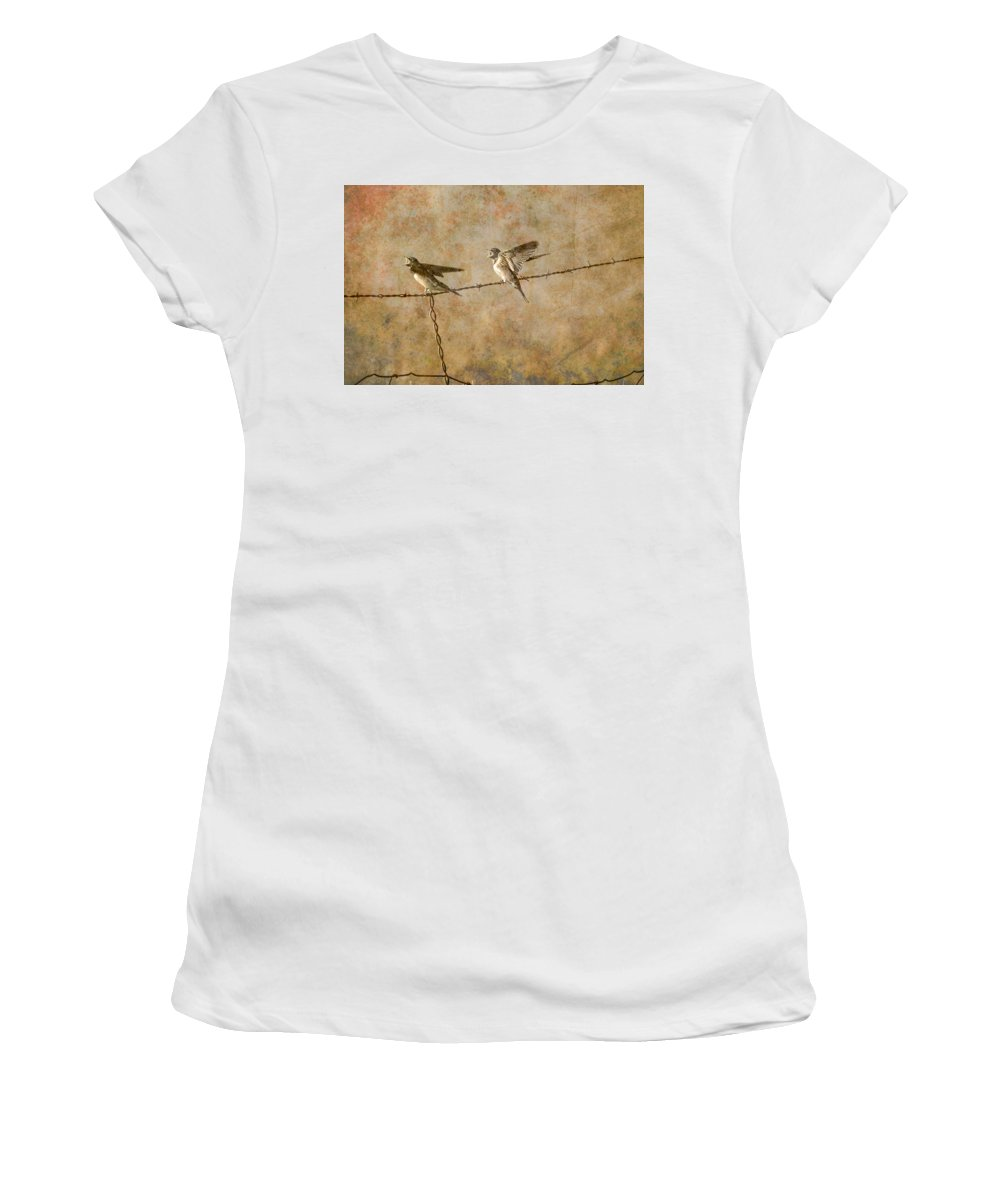Art Women's T-Shirt (Athletic Fit) featuring the photograph Barn Swallows On Barbed Wire Fence by Randall Nyhof