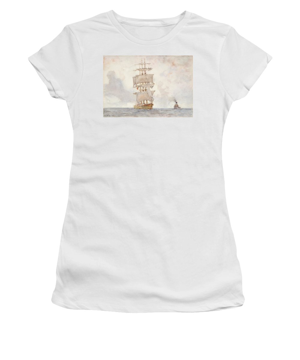 Sailing Boat; Ship; Sails; Square Rigger; Newlyn School Women's T-Shirt featuring the painting Barque And Tug by Henry Scott Tuke