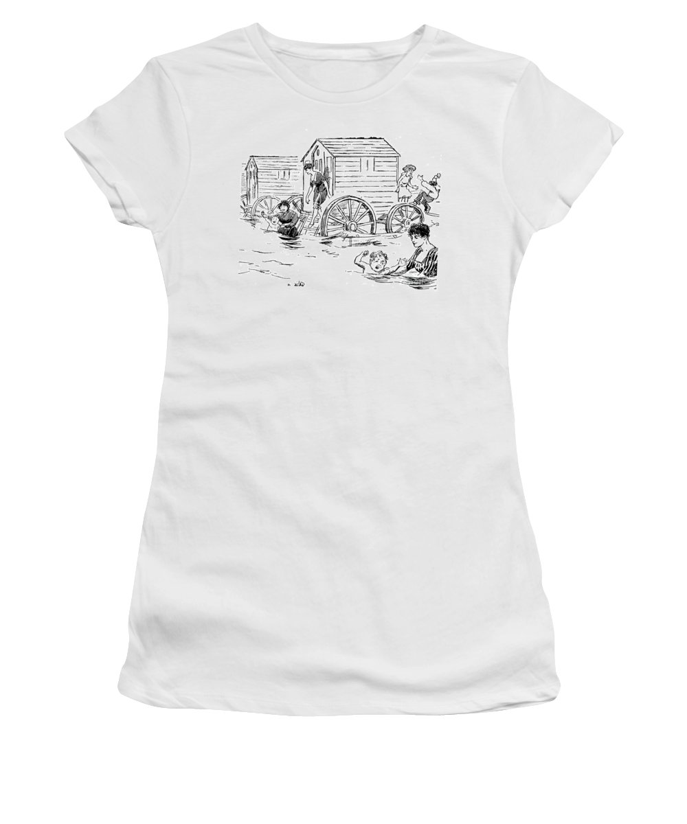 1888 Women's T-Shirt featuring the photograph Bathing Machine, 1888 by Granger