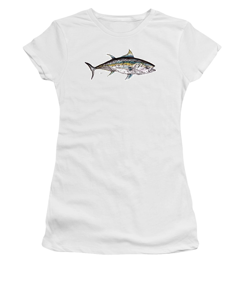 Blue Fin Women's T-Shirt featuring the painting Beautiful Blue Fin by J Vincent Scarpace