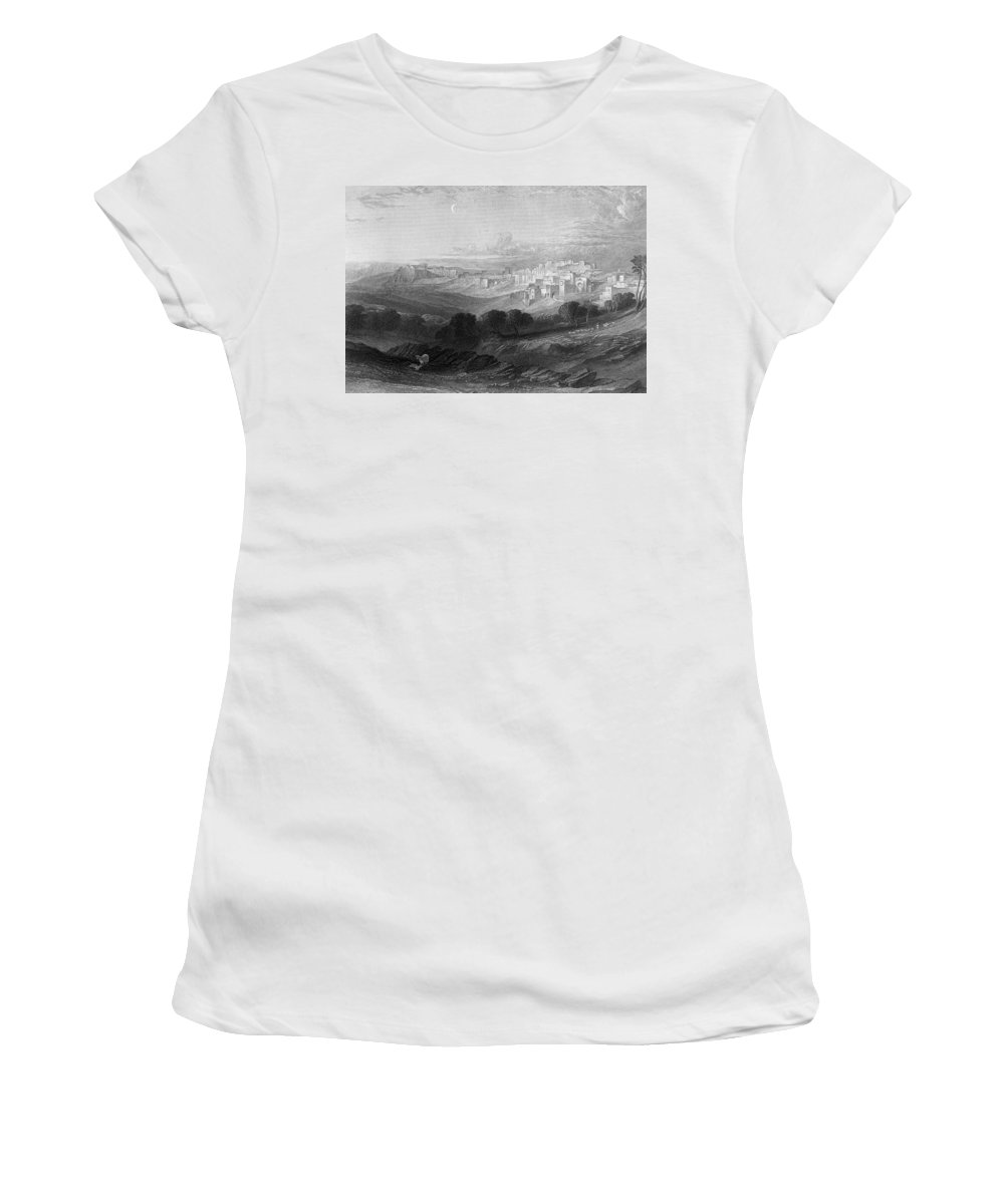 Bethlehem Women's T-Shirt (Athletic Fit) featuring the photograph Bethlehem Engraving By William Miller by Munir Alawi