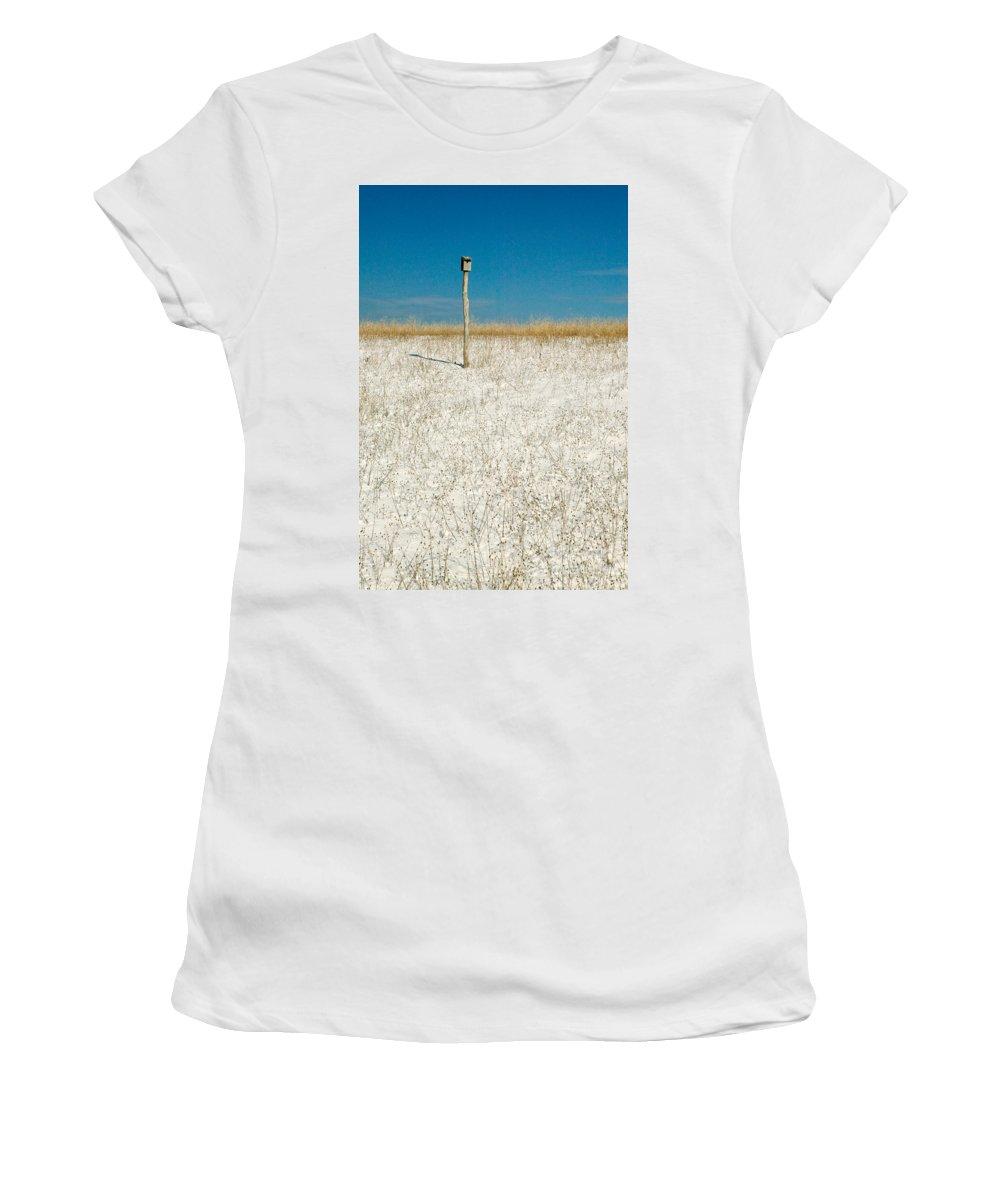 Winter Women's T-Shirt featuring the photograph Bird House by Matt Suess