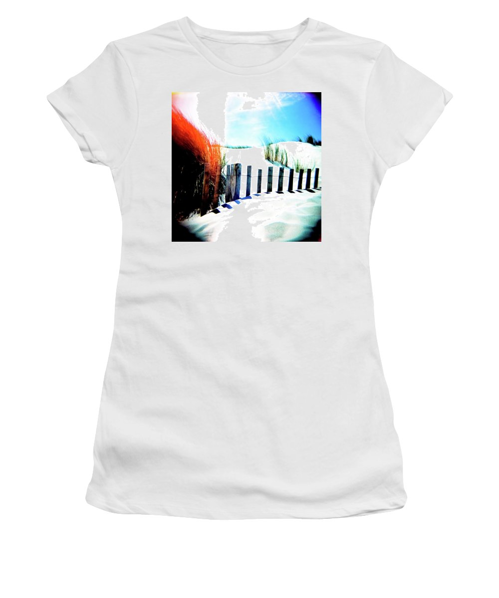 Holga Women's T-Shirt featuring the photograph Blue - White - Red by Olivier De Rycke
