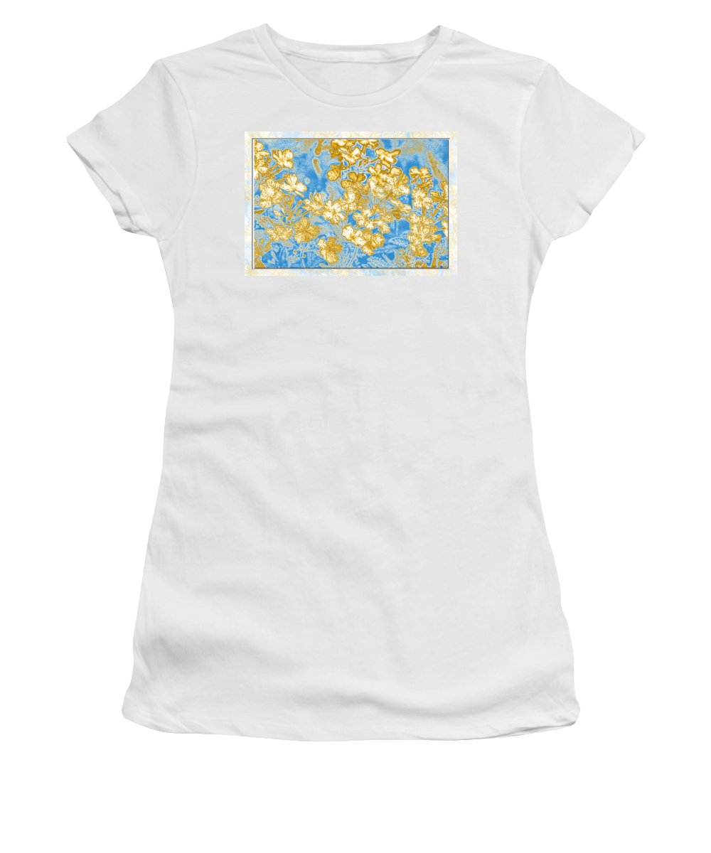 Abstract Women's T-Shirt featuring the digital art Blue And Gold Floral Abstract by Debbie Portwood