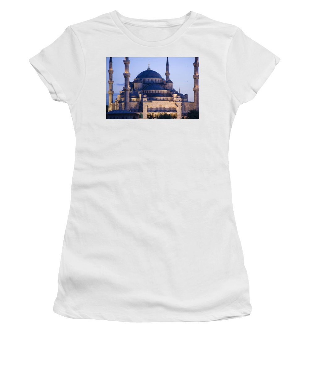 Photography Women's T-Shirt (Athletic Fit) featuring the photograph Blue Mosque Exterior by Axiom Photographic