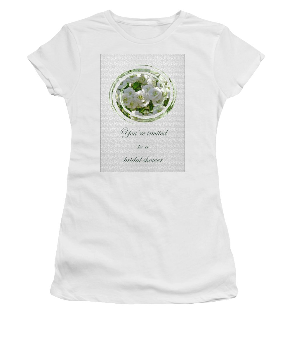 Bridal Women's T-Shirt featuring the photograph Bridal Shower Invitation - White Spirea by Mother Nature