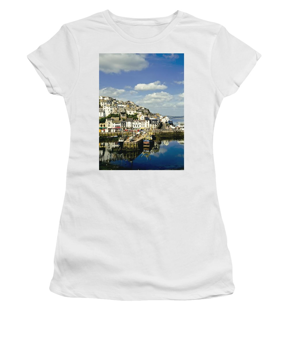 Photography Women's T-Shirt (Athletic Fit) featuring the photograph Brixham Harbor by Axiom Photographic