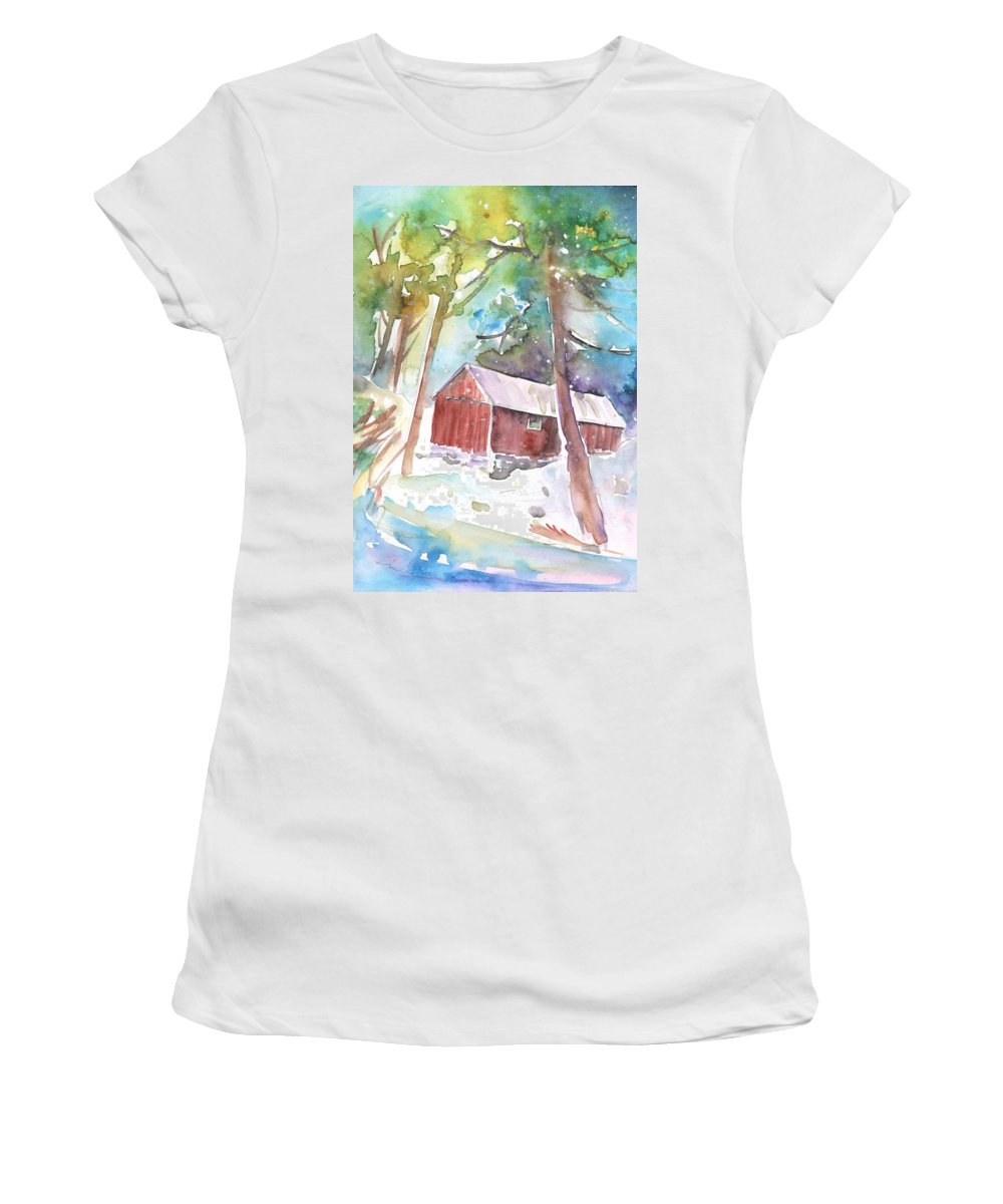 Travel Sketch Women's T-Shirt featuring the painting Cabine In The Troodos Mountains by Miki De Goodaboom