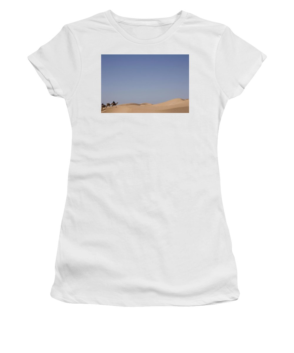 Photography Women's T-Shirt (Athletic Fit) featuring the photograph Camel Trek On Sand Dunes by Axiom Photographic