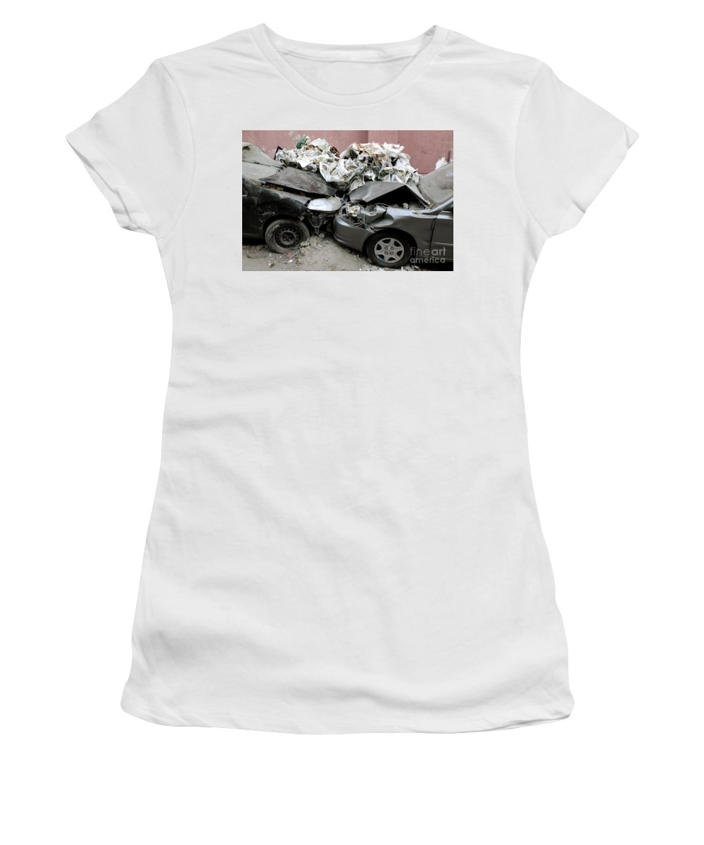 Cars Crash Wreckage Cairo Downtown Street Car Cityscape Urban Ruined Revolution 2011 Women's T-Shirt (Athletic Fit) featuring the photograph Car Crash In Cairo by Neil Pollick