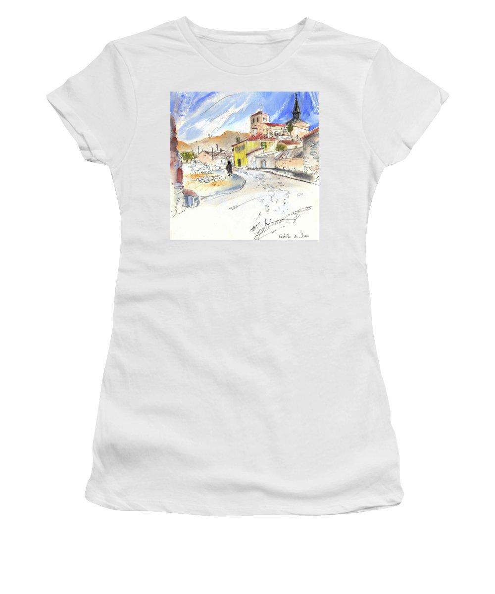 Spain Women's T-Shirt (Athletic Fit) featuring the painting Castrillo De Duero In Spain 01 by Miki De Goodaboom