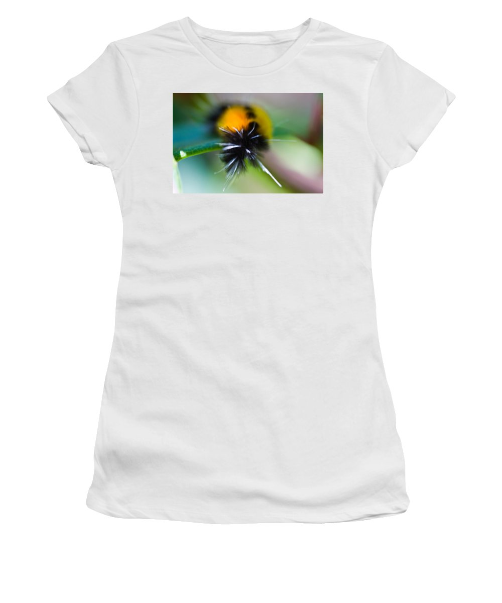 Caterpillar Women's T-Shirt (Athletic Fit) featuring the photograph Caterpillar In Abstract by Marie Jamieson