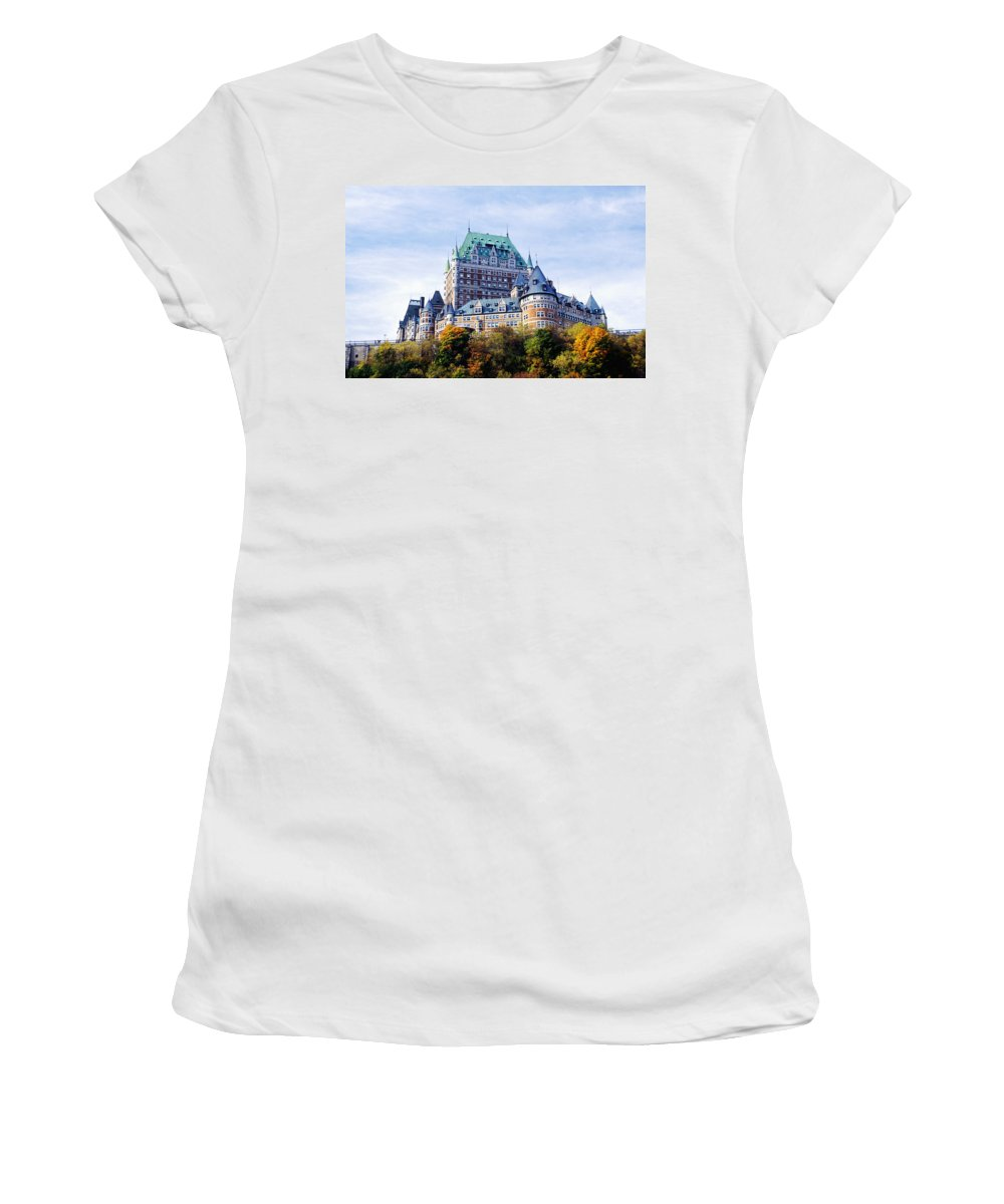 Architecture Women's T-Shirt (Athletic Fit) featuring the photograph Chateau Frontenac by Axiom Photographic