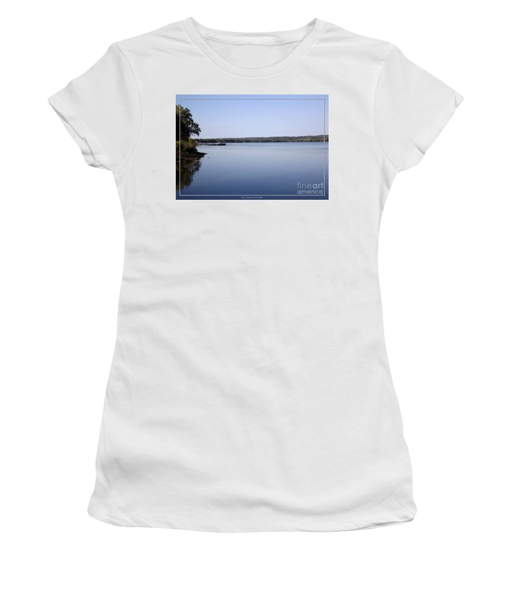 Chautauqua Lake Women's T-Shirt (Athletic Fit) featuring the photograph Chautauqua Lake With Watercolor Effect by Rose Santuci-Sofranko