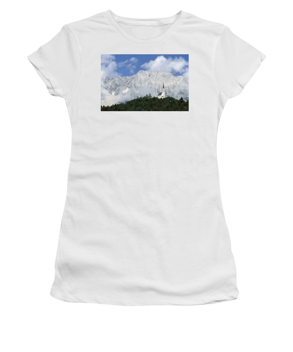 Winter Women's T-Shirt (Athletic Fit) featuring the photograph Church On Hilltop by Axiom Photographic